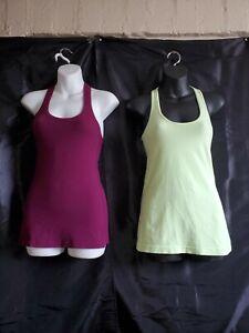 2 Lululemon Tank Top  Sleeveless Workout Shirt Size ( 4/M) Green/Burgandy