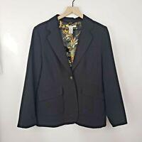 CAbi Women's Size 10 Blazer Sport Jacket Black One Button Front Lined Business