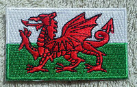 WALES FLAG PATCH Embroidered Badge Iron/Sew on 3.8cm x 6cm Welsh Cymru UK GB NEW
