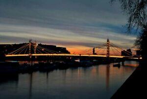 Albert Bridge at Night Chelsea Battersea West London England Photograph Print