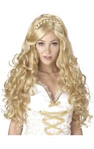 Womens Goddess Long Curly Blonde Wig Greek Roman Fancy Dress Costume Accessory
