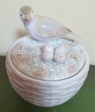 Vtg 1984 Fitz & Floyd Ff Spring Easter Bird Nest Eggs Covered Candy Sugar Dish