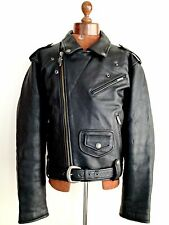 Vtg Mens Black Leather HARLEY DAVIDSON Motorcycle Biker Cafe Racer Jacket Coat