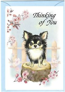 "Chihuahua Longcoat Dog (4""x 6"") Thinking of You Card (blank inside) by Starprint"