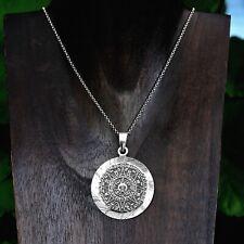 8f8ca93528df Sterling Silver Hand Made Diamond Cut Aztec Calendar Pendant Taxco Mexico