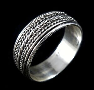 Handmade Solid 925 Sterling Silver Bali / Balinese Braided Rope SPIN/WORRY RING