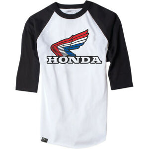 Factory Effex Honda Vintage Raglan T-Shirt (White / Black) Choose Size