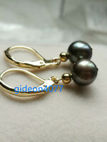 New 7-8mm AAA black green natural tahitian pearl Dangle earrings 14k gold