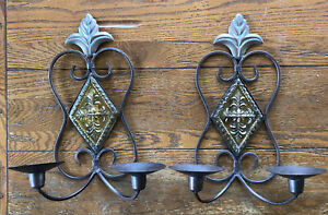 """2 Vintage Wall Mounted Metal Candle Holders Sconces 13"""" W/ Yellow Resin"""