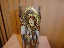 """Renassance Angel "" - hand painted art glass Vase- by Joan Baker #117"