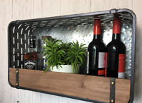 Vintage Industrial Style Metal Wall Unit Wooden Shelf Storage Display Cabinet