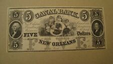 USA Obsolete Currency Louisiana, Canal Bank, 5 Dollars 18th Paper Money