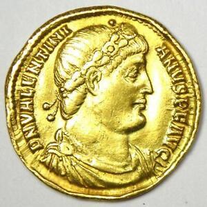 Ancient Roman Valentinian I AV Solidus Gold Coin 364-375 AD - VF / XF
