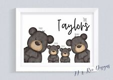 A4 Personalised Family Print: Cute Bear Family (Mother's Day, New Home Gift)
