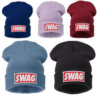 Winter Knitted SWAG BEANIE HAT BAD Oversized Slouch Beanie Hat Cap skateboard