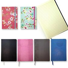A5 NEW LINED LEATHER HARDBACK NOTEPAD NOTE BOOK NOTES JOURNAL DIARY COLORS