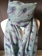 PEACOCK FEATHER LIGHT BLUE  SCARF FRIEND MUM SISTER PRESENT MOTHERS DAY GIFT