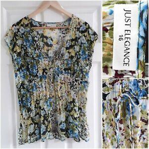 Just Elegance Sheer Floral Blouse Size 16 Kaftan Elastic Waist Blue Green Pretty