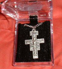 SAN DAMIANO CRUCIFIX w/chain PENDANT 24 in NIB Catholic  Cross Francis ITALY