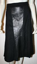 Allesandro Keil Black Wool Angora + Leather Skirt 8 A Line Usa