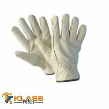 Cow Grain D/F Grade Leather Working Gloves (12 Pairs) by KlassTools