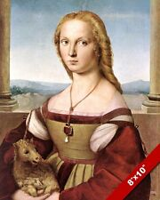 YOUNG WOMAN GIRL HOLDING PET UNICORN RENAISSANCE PAINTING ART REAL CANVAS PRINT