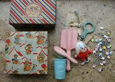 Vintage Baby Boxes & Accessories Humpty Dumpty Crib Toy Brush Mirror Diaper Pins