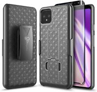 For Google Pixel 4 / 4 XL Case, Belt Clip Holster Phone Cover + Tempered Glass