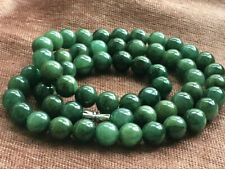 10mm 100% Natural A Oil Green Emerald Jade Beads ~Necklace Have certificate1521