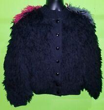 Vintage Leroy Knitwear Women's Medium 100% Acrylic Tri-Color Shaggy Jacket Coat