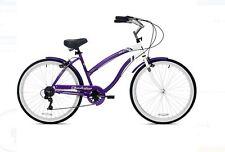 "Womens Crusier Bike 26"" Classic Steel Frame 7-Speed Bicycle Beach Purple White"