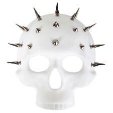 White Skull Masquerade Mask Studded Ribbon Ties Half Mask NYE Party