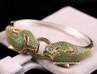 Turkish Handmade 925 Sterling Silver Green Emerald Ladies Womans Bracelet Bangle