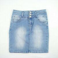 Jay Jays - Light Blue Faded Mid Length Denim Skirt Women's Size 8 - #941087