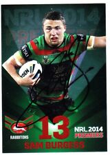 SAM BURGESS SOUTH SYDNEY RABBITOHS 2014 ESP NRL PREMIERS GREEN SIGNED CARD