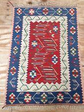 Vintage Turkish Flat Weave  Handwoven Rug Kilim