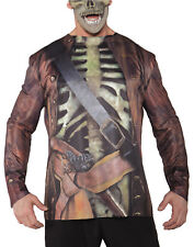 Pirate Skeleton Mens Adult Printed Zombie Halloween Shirt-Os