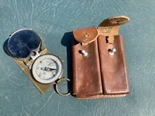 Chinese Pla Military 1962 Compass & Leather Pistol Clip Pouch
