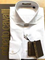 ROBERTO CAVALLI Herren Hemd Shirt Langarm Slim Fit weiß NP 180€ NEU ETIKETT BOX!