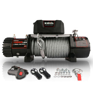 X-BULL 12V waterproof Steel Cable Electric Winch 13000 lb with Corded Control