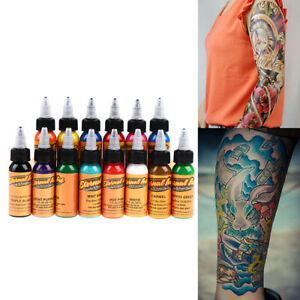 14Colors 30ml Body Painting Tattoo Ink Permanent Body Eyebrows Tattoo Paint Idn