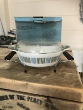 More details for vintage jaj pyrex casserole dish with lid and stand matchmaker pattern 1960s