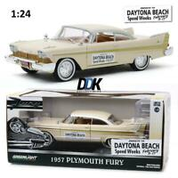 GREENLIGHT 18257 1957 PLYMOUTH FURY CREAM DAYTONA BEACH SPEED WEEKS DIECAST 1:24