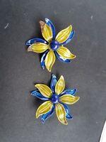 Vintage Enamel Flower Clip On Earrings Blue Green