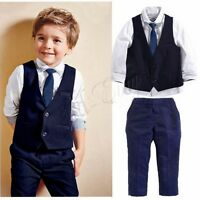 Gentleman Boys Suits Outfits 4Pcs Waistcoat Suit Wedding Boy Baby Formal Party