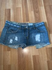 Moto Topshop Denim Frayed Hotpants Blue Jeans Shorts Size 10