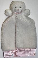 Gerber White Sherpa Teddy Bear Security Blanket Lovey Lovie Pink Satin Trim Flaw