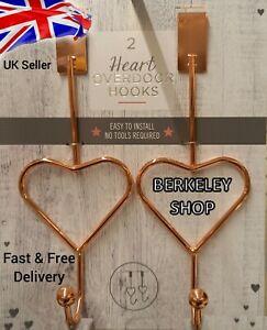Set Of 2 Copper Rose Gold Metal Heart Over Door Hooks Hanger Bath bed Room Hooks