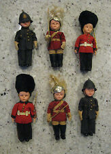 Vintage British Soldier Red Coat / Royal Guard / Bobby Doll - Lot of 6 - RARE!
