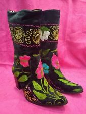 Women's Zeyzani Black Velvet Embroidered Mid Calf Cuban Heel Boot Size 35/4.5-5